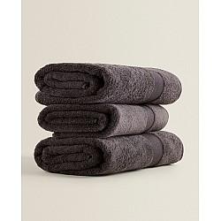 Γκρι πετσέτες προσώπου 50Χ90 cm 3 τεμ. 100% οργανικό βαμβάκι 530gsm