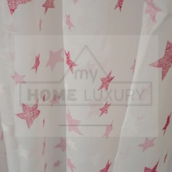 Kids Stars Pink - Κουρτίνα Τούλι Με Κρίκο 260Χ280cm A418-2