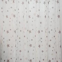 Kids Stars Brown - Κουρτίνα Τούλι Με Κρίκο 260Χ280cm A418-4