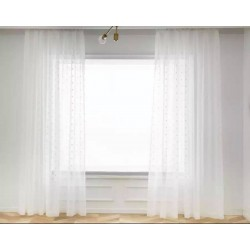 POM - POM Λευκή - Κουρτίνα ημιδιάφανη με κρίκους και τρέσα 280Χ300cm 521-12