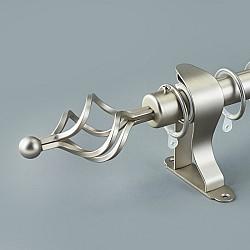 Σφαίρα ασημί - Κουρτινόξυλο ανοιγόμενο inox μονό 160 έως 310 cm 141-11