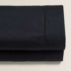 Monochrome - Σετ σεντόνια μαύρα διπλά 1600Χ200+25 cm με λάστιχο 100% οργανικό βαμβάκι 016160