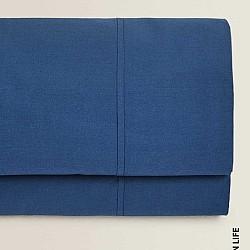 Monochrome - Σετ Σεντόνια μπλε ραφ ημίδιπλα 100% οργανικό βαμβάκι 0044